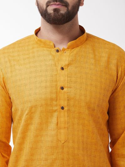 Sojanya (Since 1958), Men's Cotton Blend Mustard Kurta & White Churidar Pyjama Set