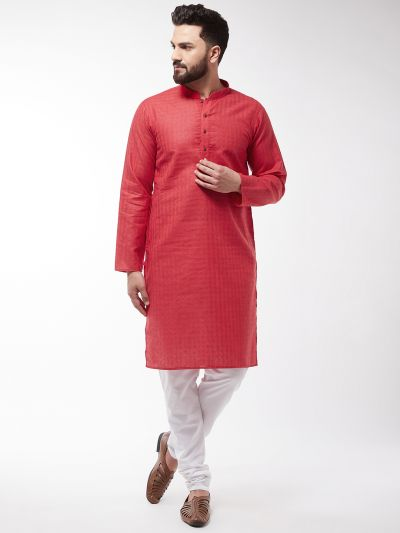 Sojanya (Since 1958), Men's Cotton Blend Red Kurta & White Churidar Pyjama Set