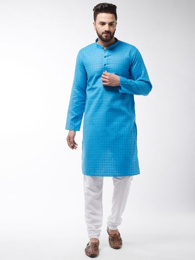Sojanya (Since 1958), Men's Cotton Blend Peacock Blue Kurta & White Churidar Pyjama Set