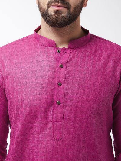 Sojanya (Since 1958), Men's Cotton Blend Magenta Kurta & White Churidar Pyjama Set