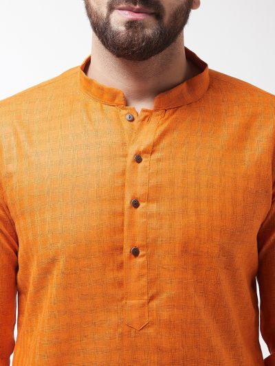 Sojanya (Since 1958), Men's Cotton Blend Orange Kurta & White Churidar Pyjama Set