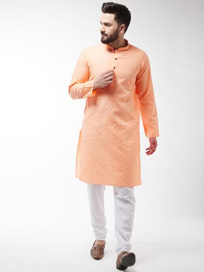 Sojanya (Since 1958), Men's Cotton Blend Peach Kurta & White Churidar Pyjama Set
