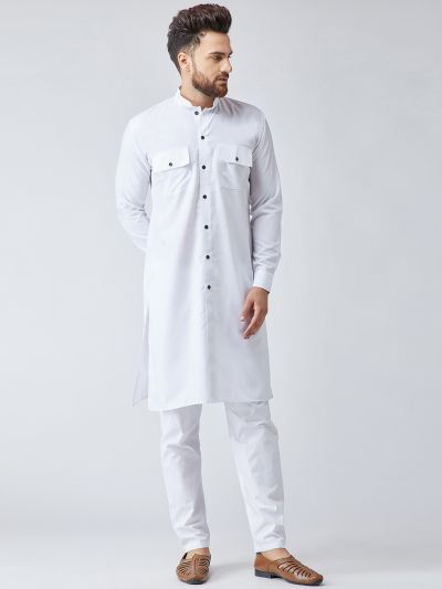 Sojanya (Since 1958), Men's Cotton White ONLY Long Kurta