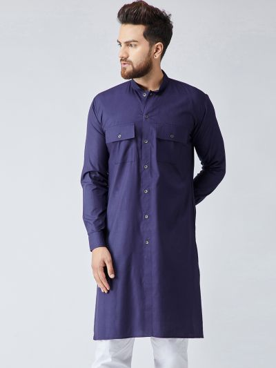 Sojanya (Since 1958), Men's Cotton Navy Blue ONLY Long Kurta
