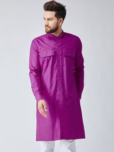 Sojanya (Since 1958), Men's Cotton Magenta ONLY Long Kurta