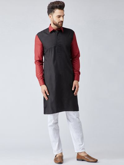 Sojanya (Since 1958), Men's Cotton Navy Blue & Light Grey ONLY Long Kurta