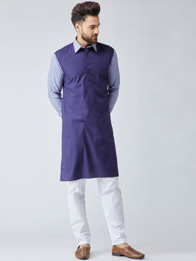 Sojanya (Since 1958), Men's Cotton Black & Maroon ONLY Long Kurta
