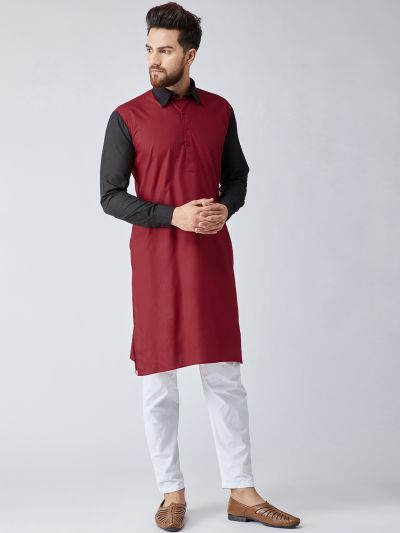 Sojanya (Since 1958), Men's Cotton Maroon & Black ONLY Long Kurta