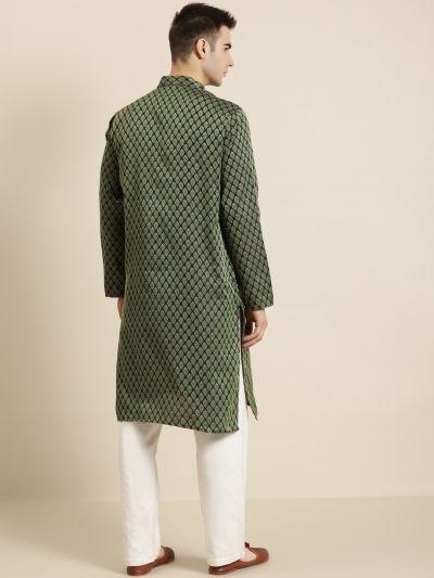 Sojanya (Since 1958), Men's Jacquard Silk Dark Green Self design ONLY Kurta