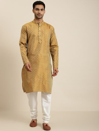 Sojanya (Since 1958), Men's Jacquard Silk Mustard Self design ONLY Kurta
