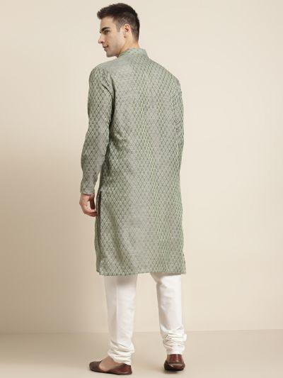 Sojanya (Since 1958), Men's Jacquard Silk Teal green Self design ONLY Kurta