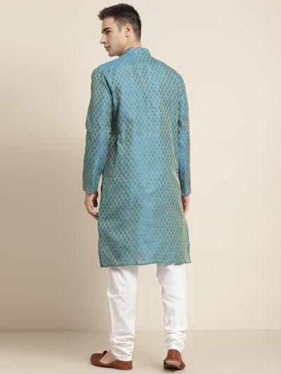 Sojanya (Since 1958), Men's Jacquard Silk Peacock blue Self design ONLY Kurta