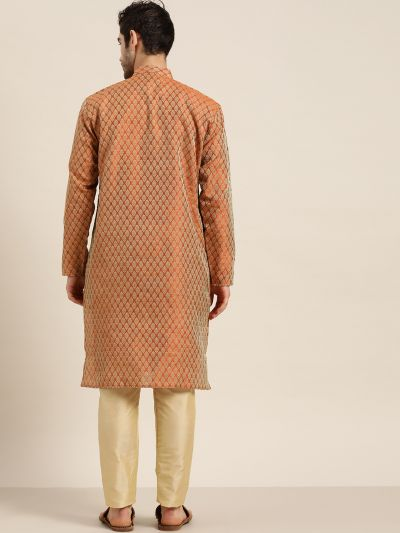 Sojanya (Since 1958), Men's Jacquard Silk Orange Self design ONLY Kurta