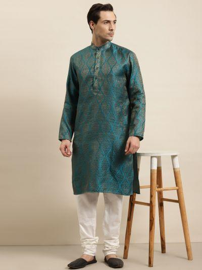 Sojanya (Since 1958) Men's Jacquard Silk Teal Blue & Gold Kurta