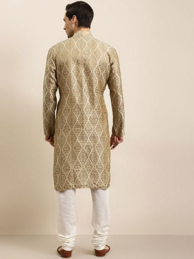 Sojanya (Since 1958) Men's Jacquard Silk Beige & Gold Kurta