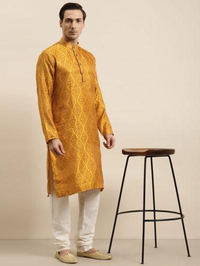 Sojanya (Since 1958) Men's Jacquard Silk Mustard & Gold Kurta