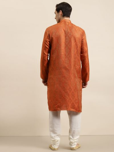 Sojanya (Since 1958) Men's Jacquard Silk Orange & Gold Kurta