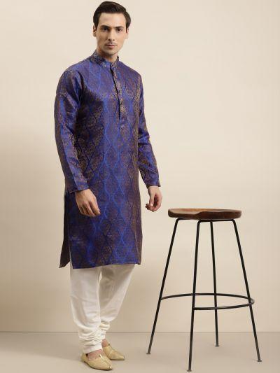Sojanya (Since 1958) Men's Jacquard Silk Blue & Gold Kurta