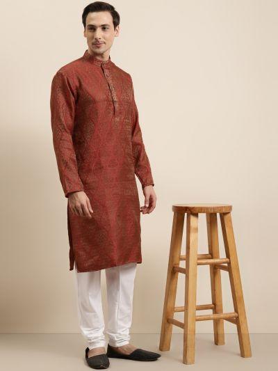 Sojanya (Since 1958) Men's Jacquard Silk Red & Gold Kurta
