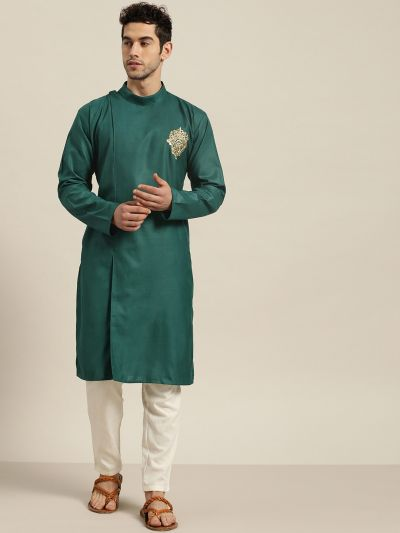 Sojanya (Since 1958), Men's Cotton Dark Green ONLY Kurta