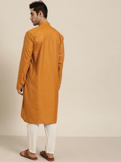 Sojanya (Since 1958), Men's Cotton Mustard ONLY Kurta
