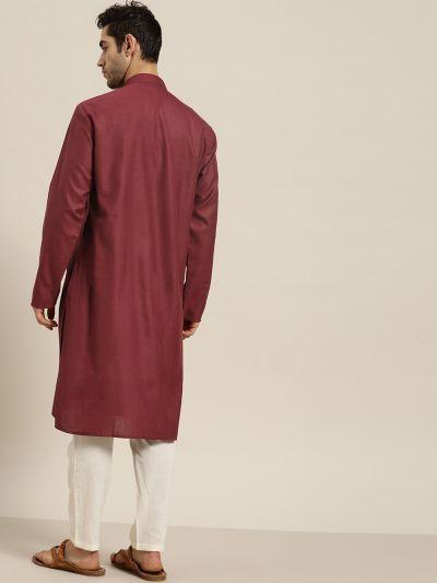 Sojanya (Since 1958), Men's Cotton Maroon ONLY Kurta