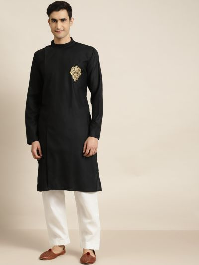 Sojanya (Since 1958), Men's Cotton Black ONLY Kurta