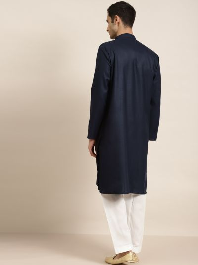 Sojanya (Since 1958), Men's Cotton Navy Blue ONLY Kurta