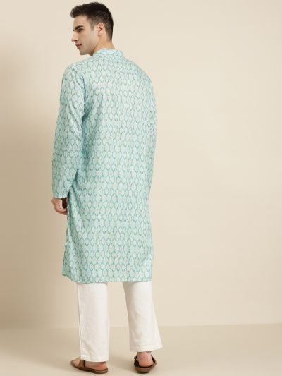 Sojanya (Since 1958), Men's Cotton Sea Green Printed ONLY Kurta