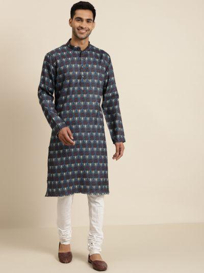 Sojanya (Since 1958), Men's Cotton Dark Grey Printed ONLY Kurta