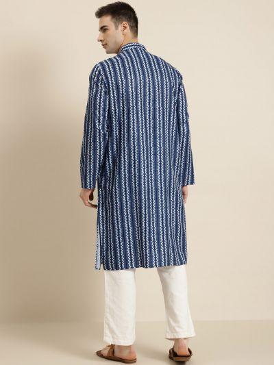 Sojanya (Since 1958), Men's Cotton Navy Blue Self Printed ONLY Kurta