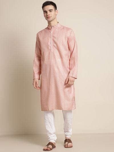 Sojanya (Since 1958), Men's Cotton Peach Printed ONLY Kurta