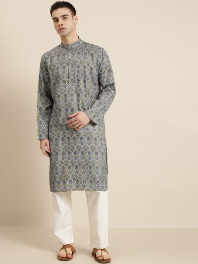 Sojanya (Since 1958), Men's Cotton Light Grey Printed ONLY Kurta