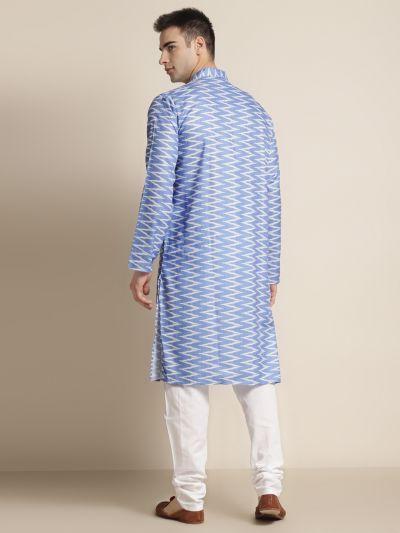 Sojanya (Since 1958), Men's Cotton Sky Blue Printed ONLY Kurta