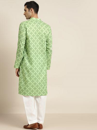 Sojanya (Since 1958), Men's Cotton Green Printed ONLY Kurta