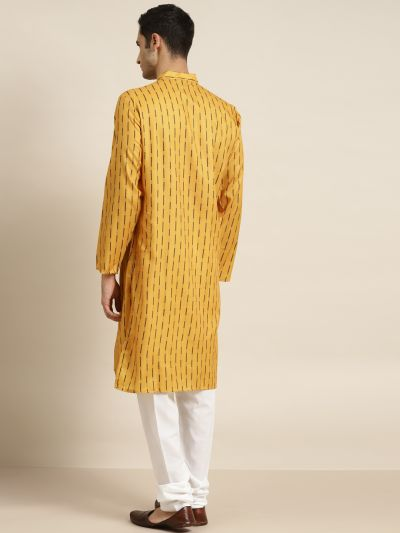Sojanya (Since 1958), Men's Cotton Mustard Printed ONLY Kurta