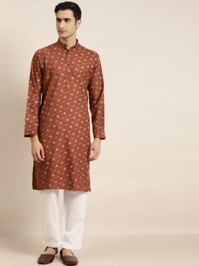 Sojanya (Since 1958), Men's Cotton Rust Printed ONLY Kurta