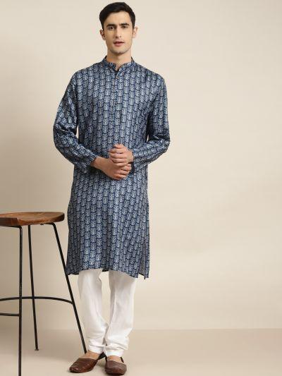 Sojanya (Since 1958), Men's Cotton Navy Blue Printed ONLY Kurta