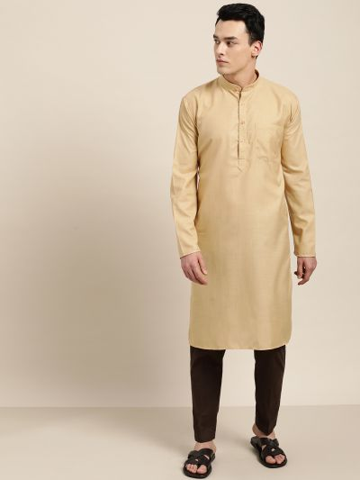 Sojanya (Since 1958), Men's Cotton Light Gold Solid ONLY Kurta