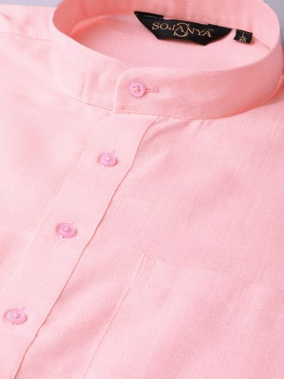Sojanya (Since 1958), Men's Cotton Pink Solid ONLY Kurta