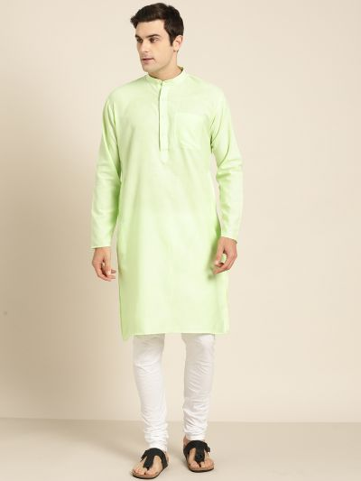 Sojanya (Since 1958), Men's Cotton Green Solid ONLY Kurta