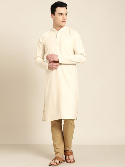 Sojanya (Since 1958), Men's Cotton Cream Solid ONLY Kurta