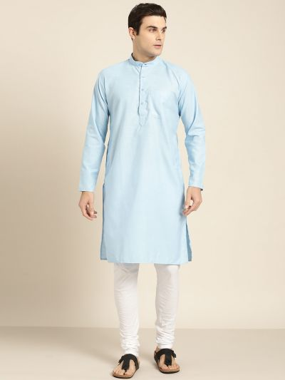 Sojanya (Since 1958), Men's Cotton Blue Solid ONLY Kurta