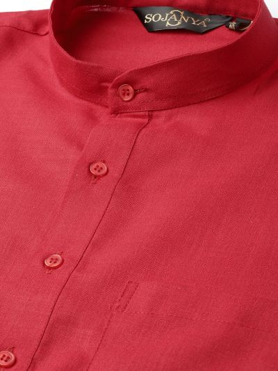 Sojanya (Since 1958), Men's Cotton Red Solid ONLY Kurta
