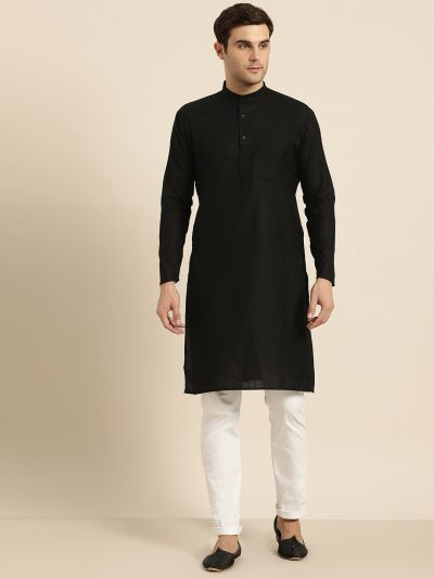 Sojanya (Since 1958), Men's Cotton Black Solid ONLY Kurta