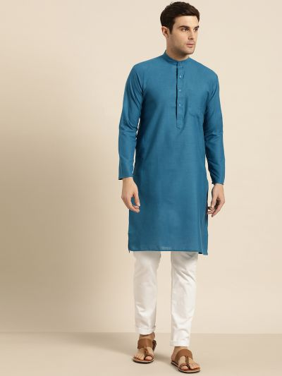 Sojanya (Since 1958), Men's Cotton Peacock Blue Solid ONLY Kurta