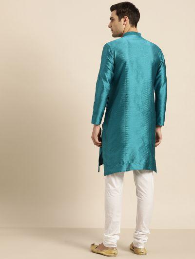 Sojanya (Since 1958), Men's Silk Blend Peacock Blue Self Design ONLY Kurta