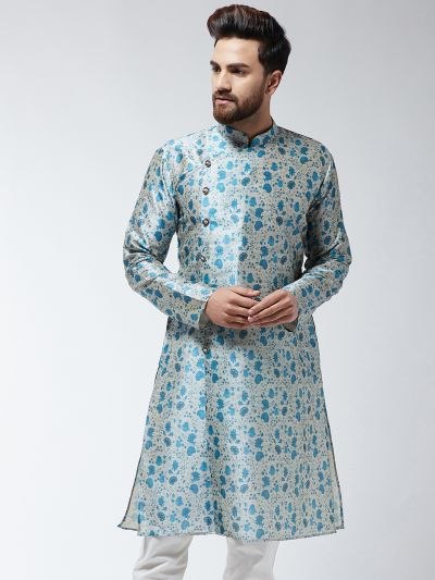 Sojanya (Since 1958), Men's Silk Blend Blue Printed ONLY Long Kurta