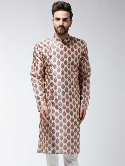Sojanya (Since 1958), Men's Silk Blend Red Printed ONLY Long Kurta