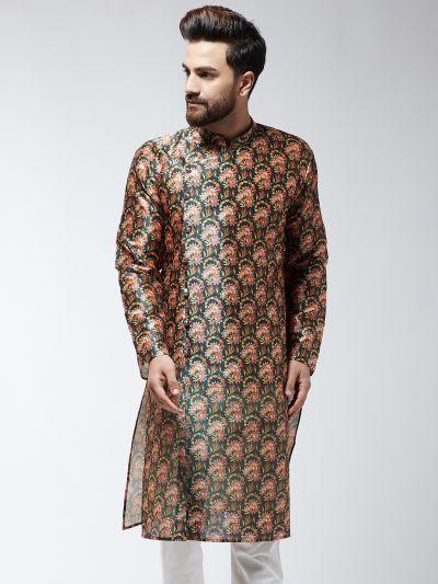 Sojanya (Since 1958), Men's Silk Blend Black Printed ONLY Long Kurta
